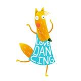 Cartoon cute orange fox in dress with text Love Dancing Stock Photo