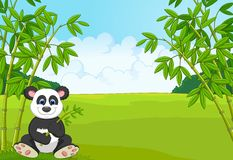 Cartoon cute panda in the bamboo forest Stock Photo