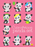 Cartoon cute panda birthday vector set Stock Photos