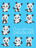 Cartoon cute panda different emotions Royalty Free Stock Photo