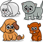 Cartoon cute pets animals set Stock Photography