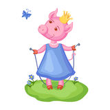 Cartoon cute pig in blue dress and golden crown on green meadow along flowers Royalty Free Stock Images