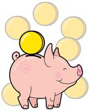 Cartoon cute piggy bank with golden coin vector Royalty Free Stock Image