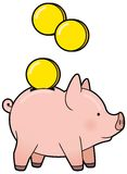 Cartoon cute piggy bank with golden coin vector Stock Images