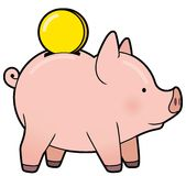 Cartoon cute piggy bank with golden coin vector Royalty Free Stock Images