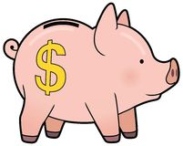 Cartoon cute piggy bank vector Royalty Free Stock Images