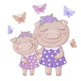 Cartoon cute piggy girl daughter in dress and Mom. royalty free illustration