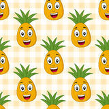 Cartoon Cute Pineapple Seamless Pattern Royalty Free Stock Photo