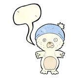 Cartoon cute polar bear in hat with speech bubble Royalty Free Stock Photography
