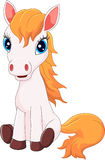 Cartoon cute pony horse sitting Royalty Free Stock Images
