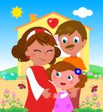 Cartoon pregnant woman with daughter and husband Royalty Free Stock Image