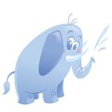 Cartoon cute purple elephant animal spitting water Stock Image