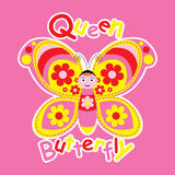 Cartoon  of cute queen butterfly Stock Photography