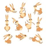 Cartoon cute rabbit or hare. Little funny rabbits. Vector illustration grouped and layered for easy editing Royalty Free Stock Photography