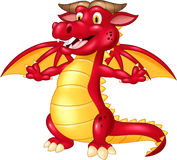 Cartoon cute red dragon isolated on white background Stock Photography