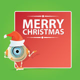 Cartoon Cute Robot with  santa claus red hat. Royalty Free Stock Images