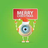 Cartoon Cute Robot with  santa claus red hat. Stock Photography
