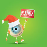 Cartoon Cute Robot with  santa claus red hat. Royalty Free Stock Photo