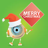 Cartoon Cute Robot with  santa claus red hat. Stock Photo