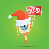 Cartoon Cute Robot with  santa claus red hat. Royalty Free Stock Image