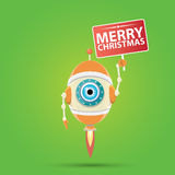 Cartoon Cute Robot with  santa claus red hat. Royalty Free Stock Photos