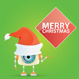 Cartoon Cute Robot with  santa claus red hat. Royalty Free Stock Photography