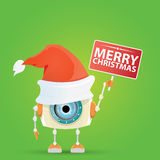Cartoon Cute Robot with  santa claus red hat. Stock Image