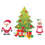 Cartoon cute santa claus with christmas fir tree and gifts and mrs santa. Vector image of a cartoon cute santa claus with christmas fir tree and gifts and mrs Stock Photography