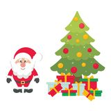Cartoon cute santa claus with christmas fir tree and gifts. Vector image of a cartoon cute santa claus with christmas fir tree and gifts Stock Images