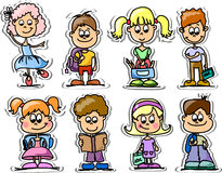 Cartoon cute schoolchildren,vector Stock Images
