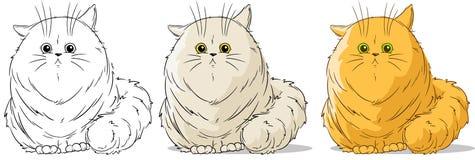 Cartoon cute sitting big cat vector set. Cartoon cute black and white sitting big redhead cat vector set Stock Image