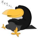 Cartoon cute sleeping raven royalty free illustration