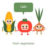 Cartoon Cute smiling vegetables - corn, tomato, onion. Royalty Free Stock Photography