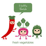 Cartoon Cute smiling vegetables - radish, artichoke, hot peppers. Royalty Free Stock Images