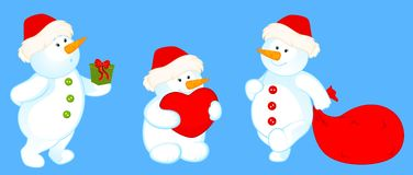 Cartoon cute snowmen Stock Photography