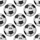 Cartoon cute soccer ball characters seamless Stock Images