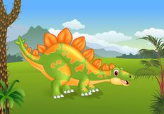 Cartoon cute stegosaurus posing with the prehistoric background Stock Photo