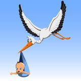 Cartoon Cute stork carrying baby. Cartoon cute stork carrying a child in a beak to parents Stock Image