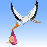 Cartoon Cute stork carrying baby. Cartoon cute stork carrying a child in a beak to parents Stock Photography