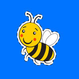 Cartoon cute striped little bumble bee. Or honey bee logo with a happy smile on blue royalty free illustration