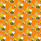 Cartoon cute striped little bumble bee. Or honey bee pattern with a happy smile on orange royalty free illustration