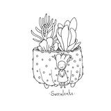 Cartoon cute succulents in pot. Royalty Free Stock Images