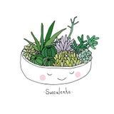 Cartoon cute succulents in pot. Stock Photography