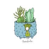 Cartoon cute succulents in pot. Stock Photos