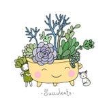 Cartoon cute succulents in pot. Royalty Free Stock Photos