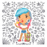 Cartoon Cute Tattoo Girl with Skateboard Royalty Free Stock Images