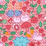 Cartoon cute tea time natural diagonal stripe seamless pattern Royalty Free Stock Images