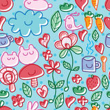 Cartoon cute tea time natural dot seamless pattern. This illustration is design and drawing cute cartoon stylish line in seamless pattern, abstract tea time stock illustration