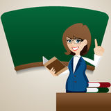 Cartoon cute teacher teaching at blackboard Stock Photos