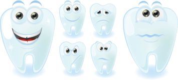 Cartoon cute teeth with different emotions,vector Stock Photos
